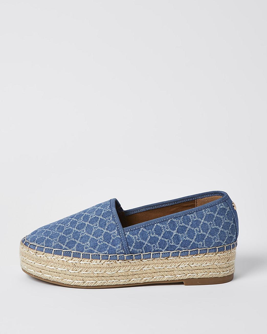 Blue RI monogram print espadrille sandals