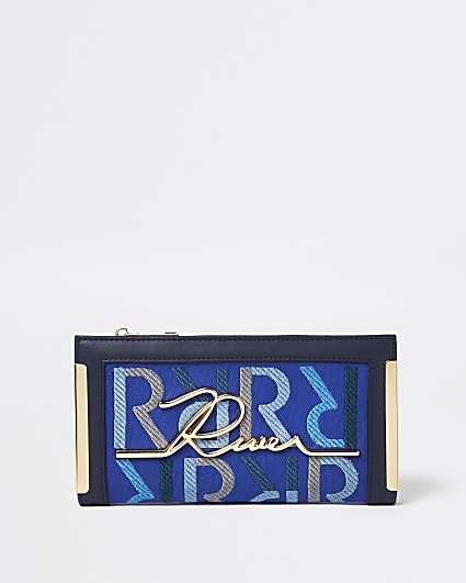 Blue RI monogram purse