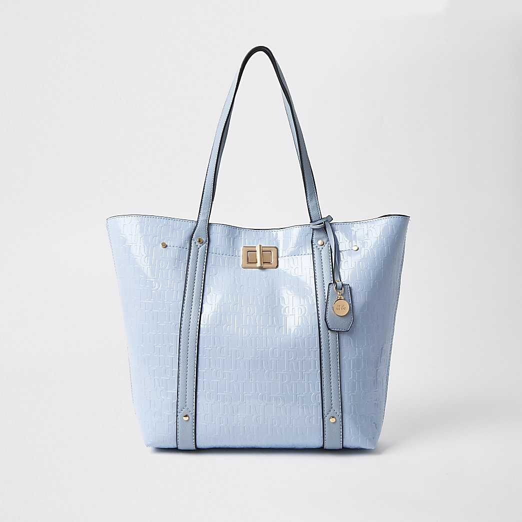 Blue RI monogram shopper handbag