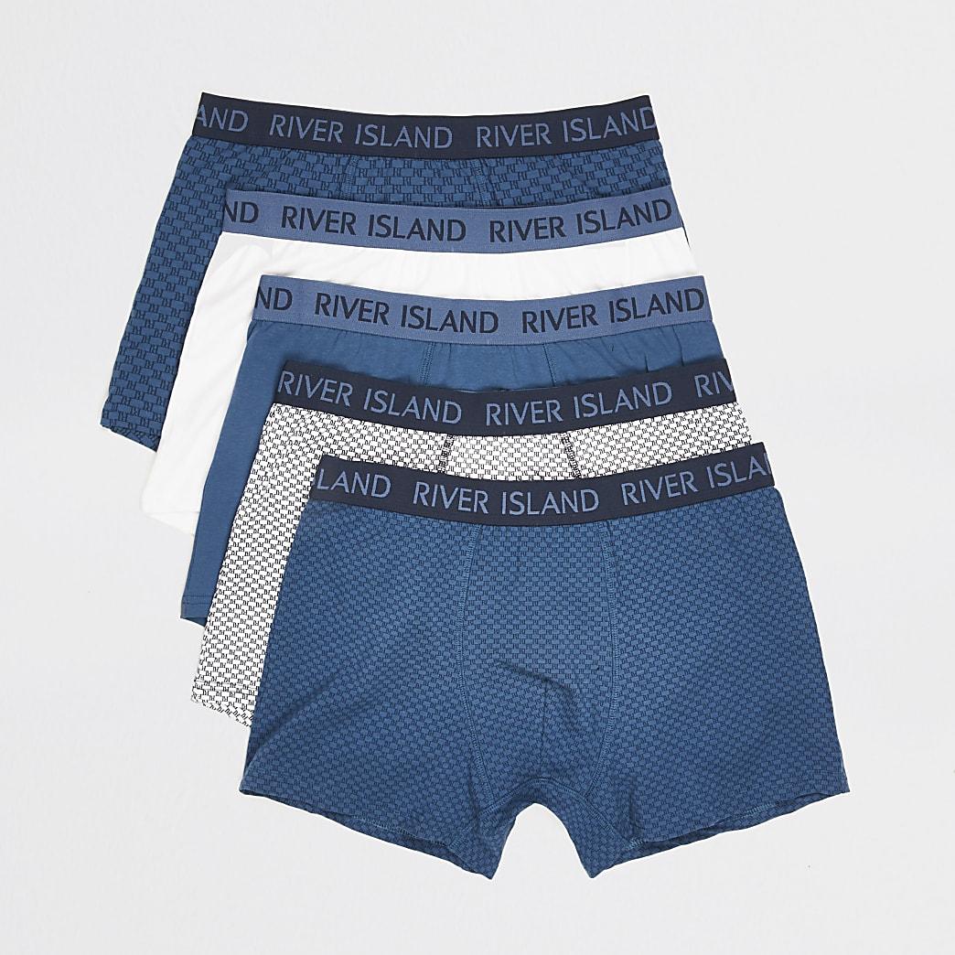 Blue RI monogram waistband trunks 5 pack