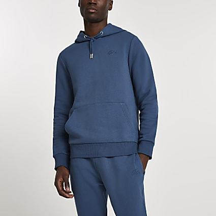 Blue RI muscle fit hoodie