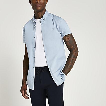Blue RI muscle fit short sleeve shirt
