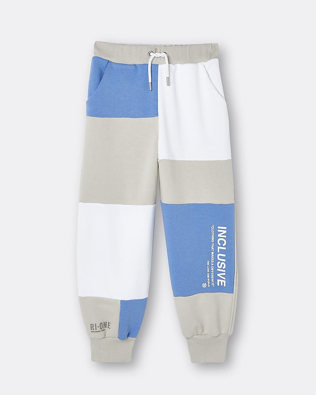 Blue RI ONE colour block joggers