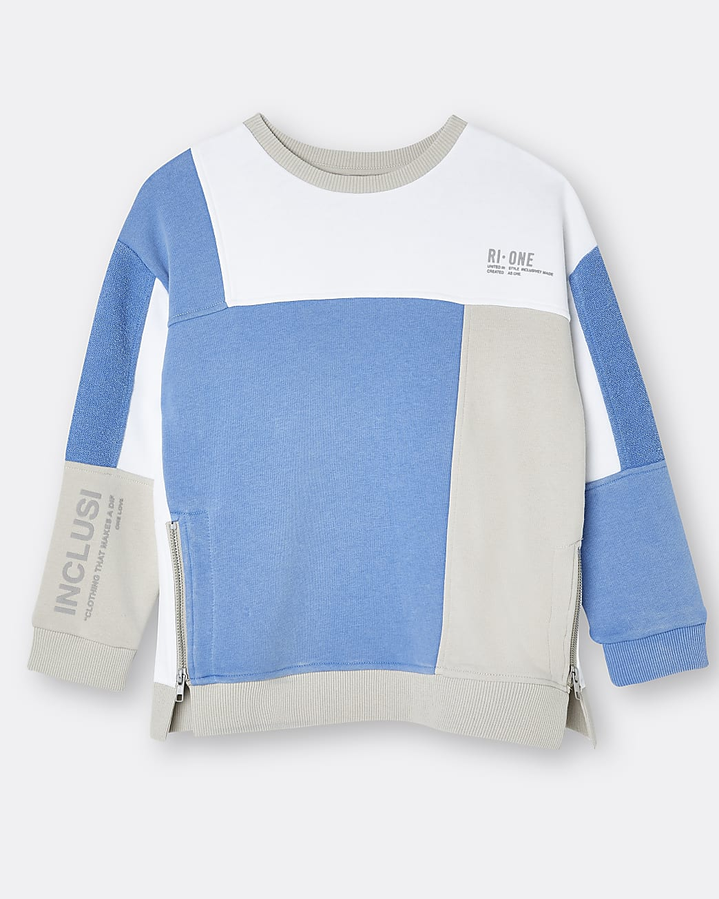 Blue RI ONE colour block sweatshirt
