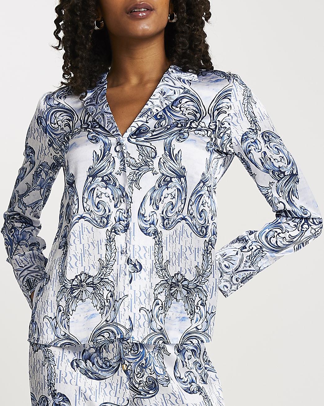 Blue RI ornate printed pyjama shirt