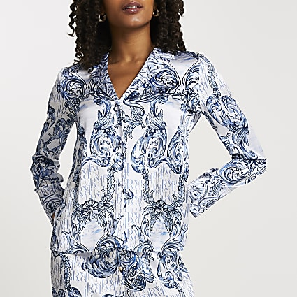 Blue RI ornate printed pyjama shirt