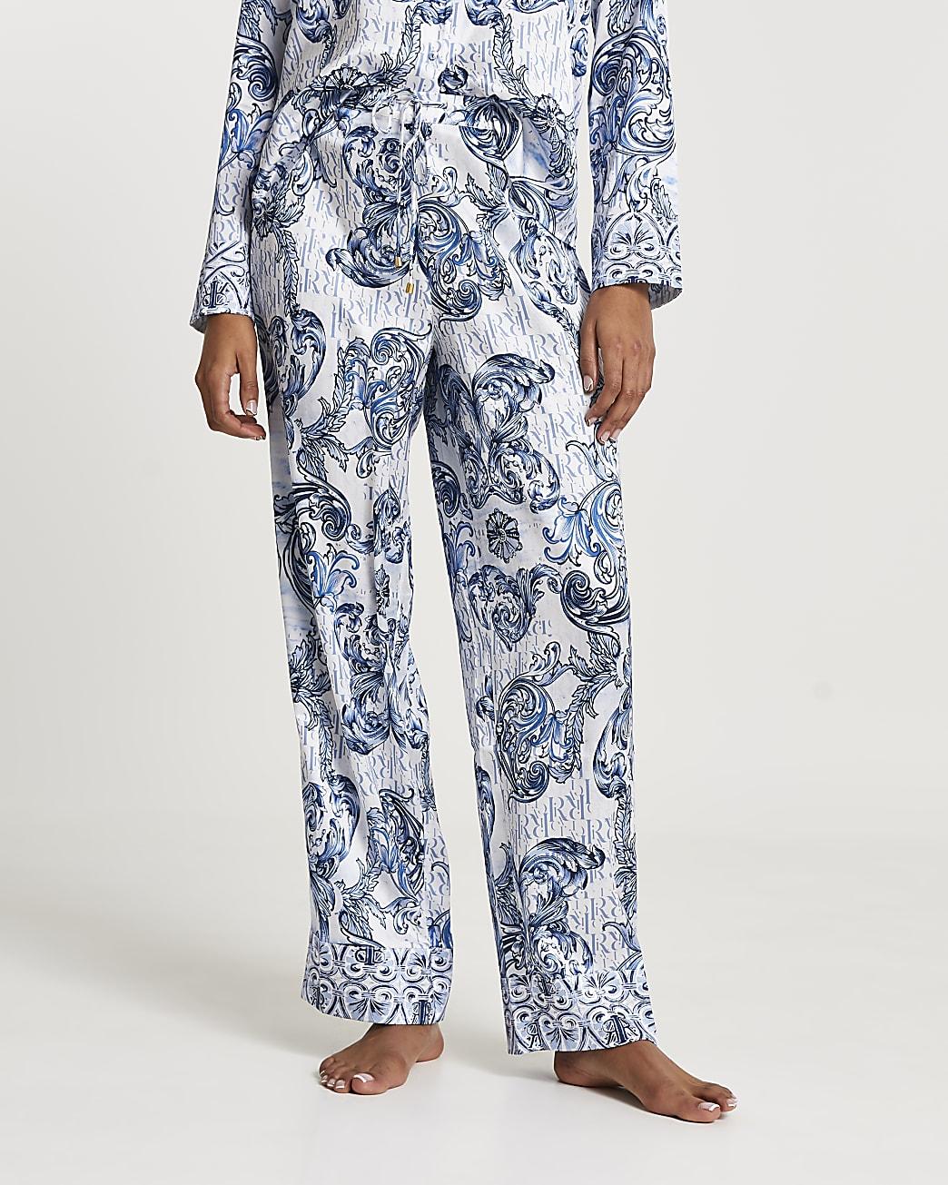 Blue RI ornate printed pyjama trousers
