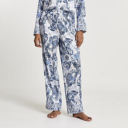 Blue RI ornate printed pyjama trousers