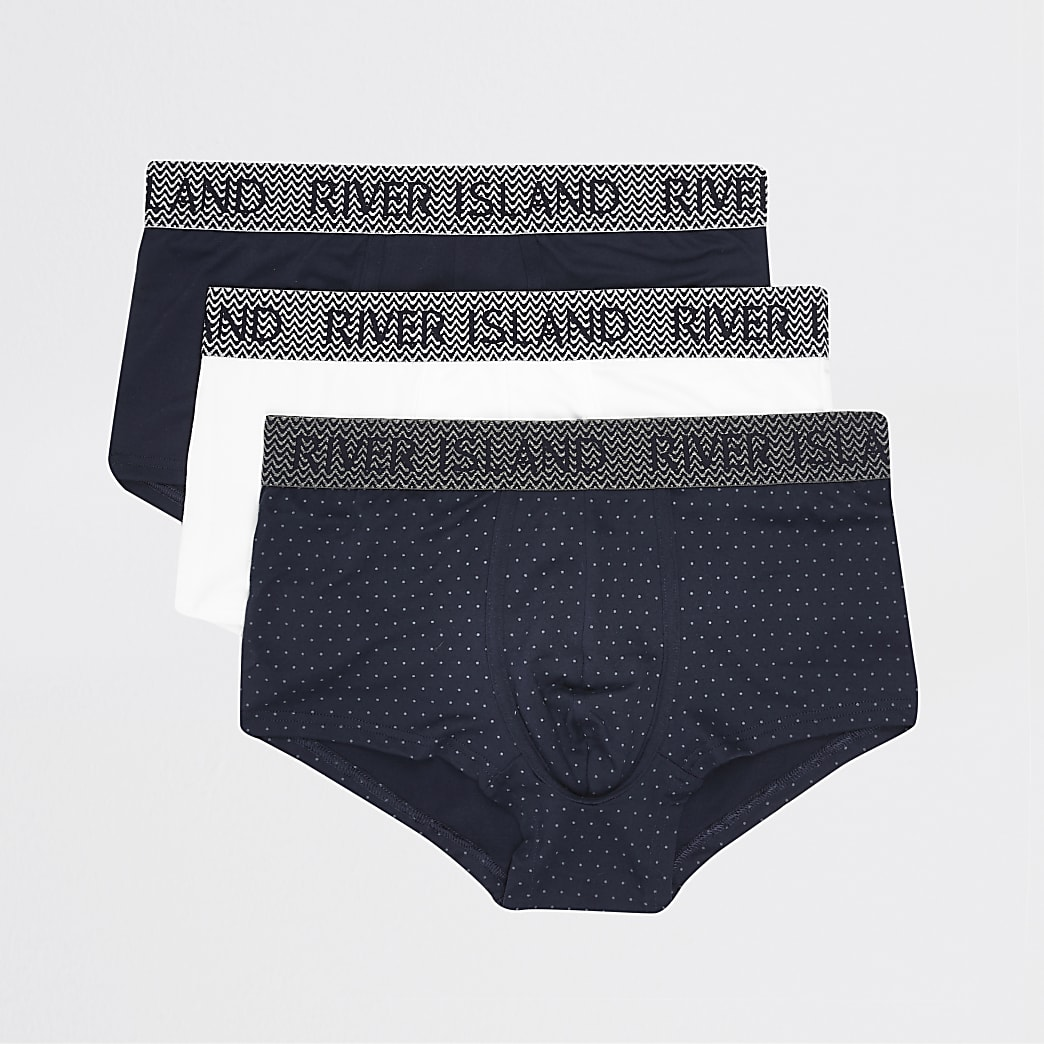 Blue RI print 3 pack muscle hipsters