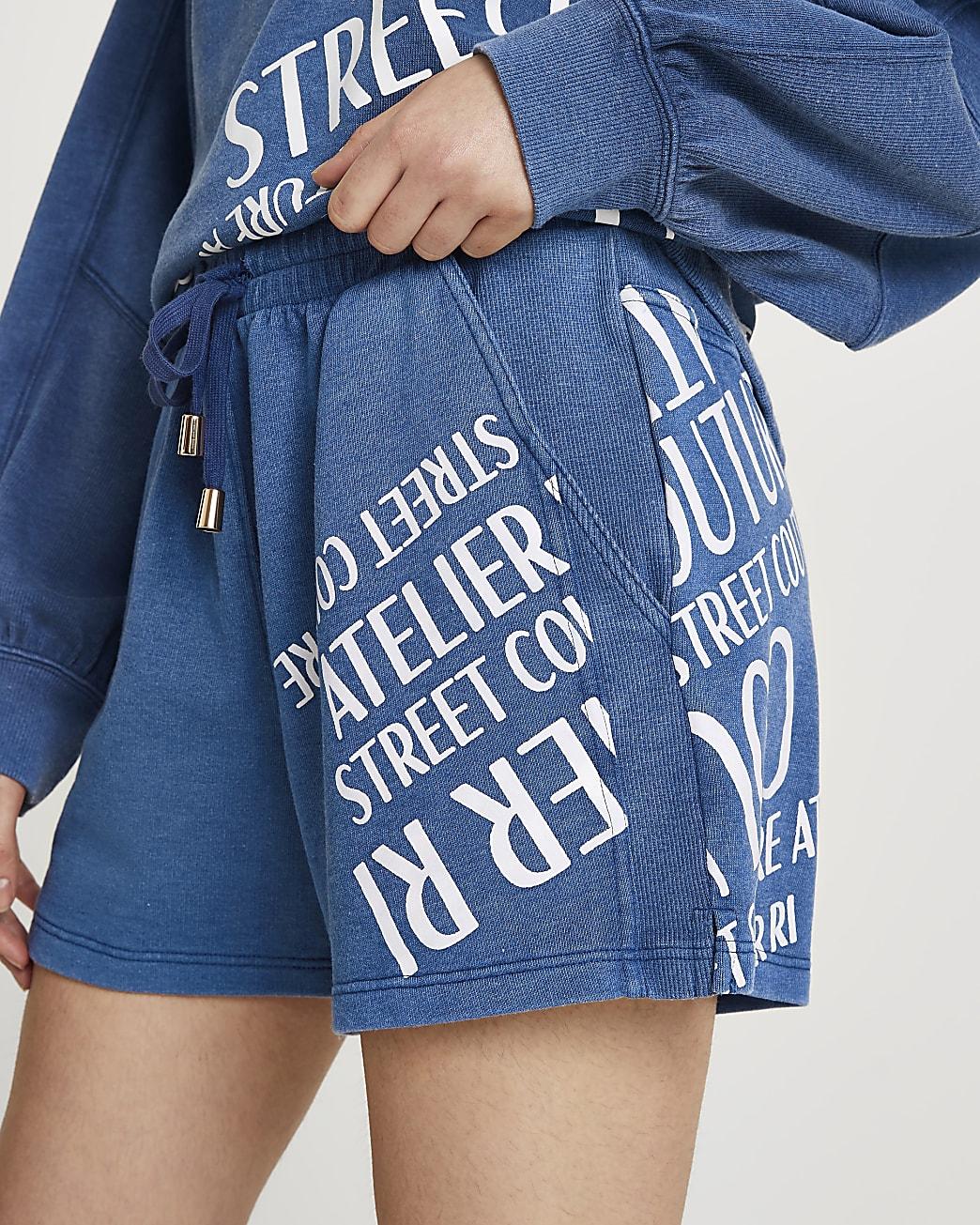 Blue RI print ribbed denim shorts