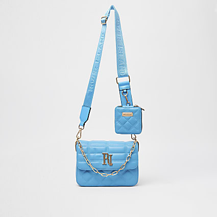 Blue RI quilted cross body bag with pouch