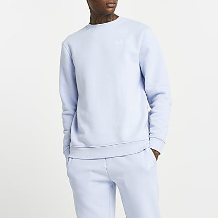 Blue RI script embellished sweatshirt