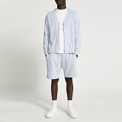 Blue RI slim fit sweatshirt and shorts set