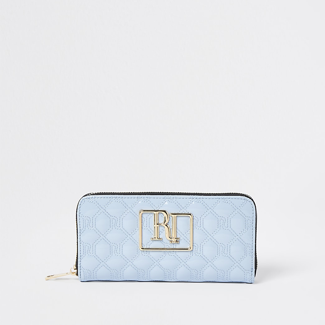 Blue RI stitch embossed purse