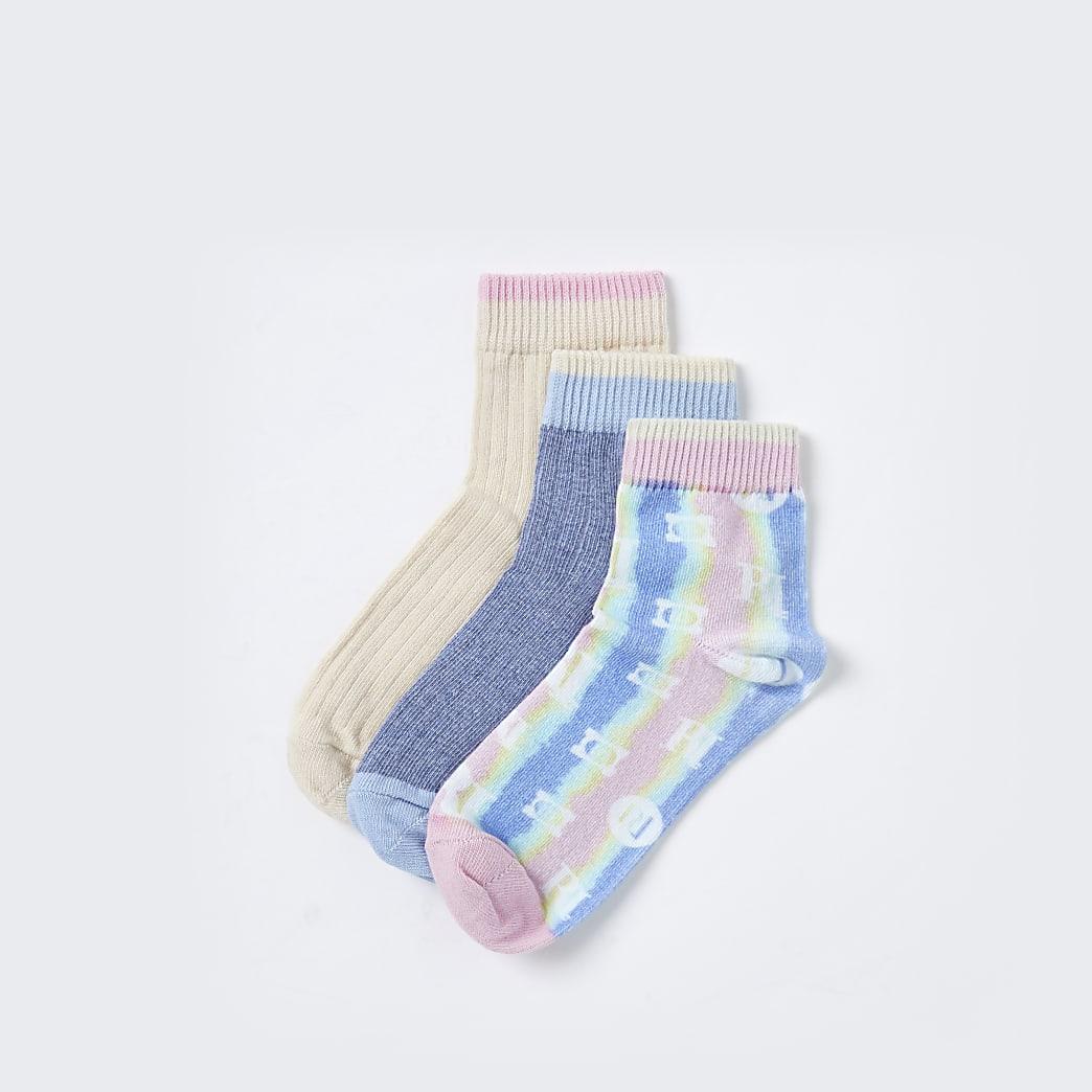 Blue RI trainer socks pack of 3