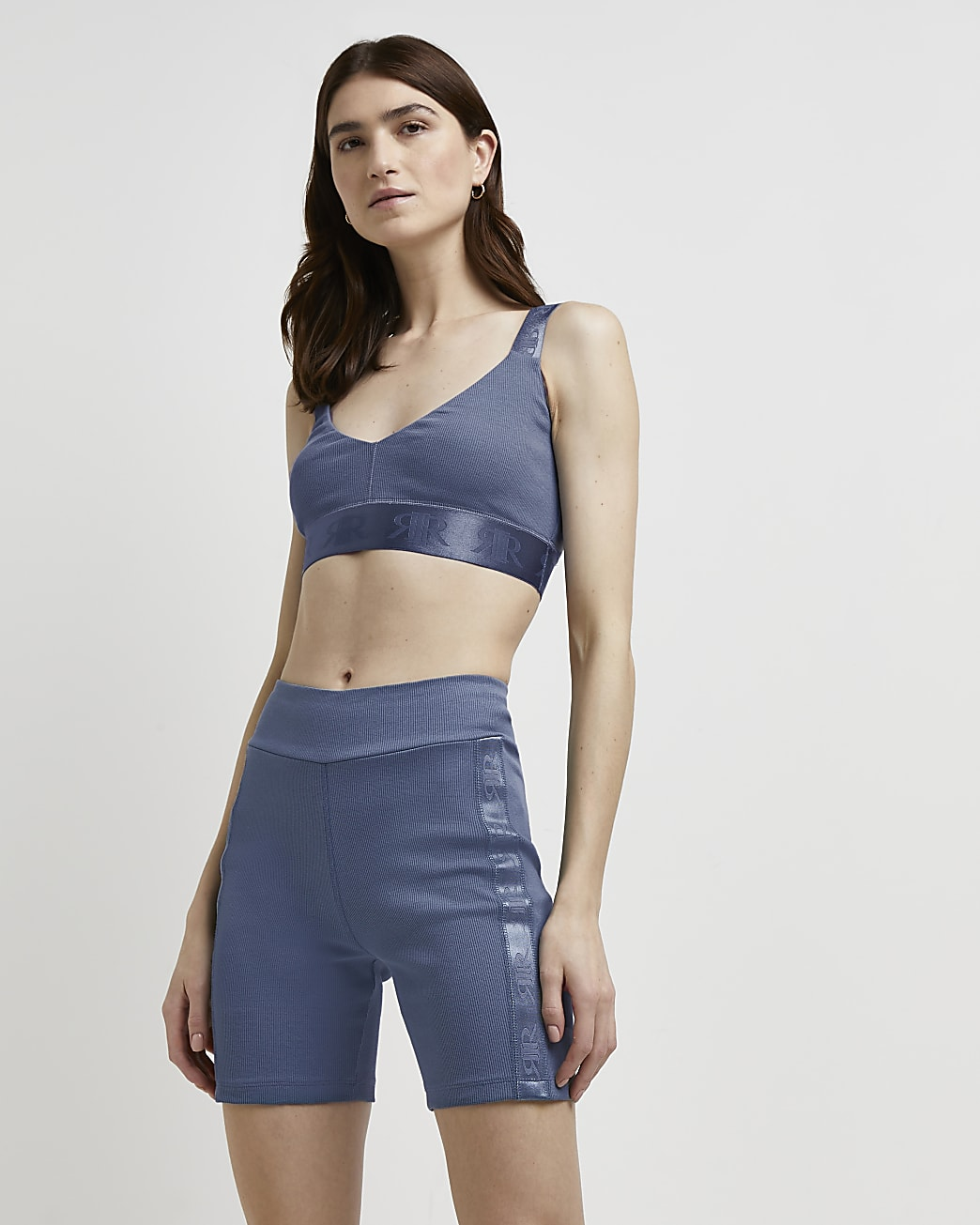 Blue ribbed cropped bralette