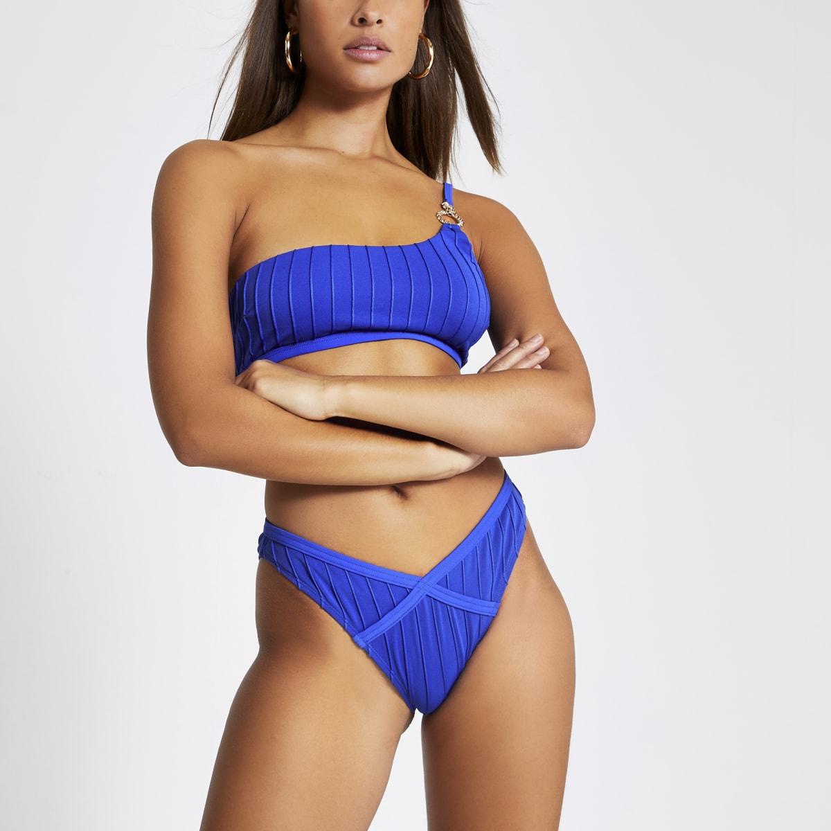 Blauw geribbeld hoogopgesneden bikinibroekje