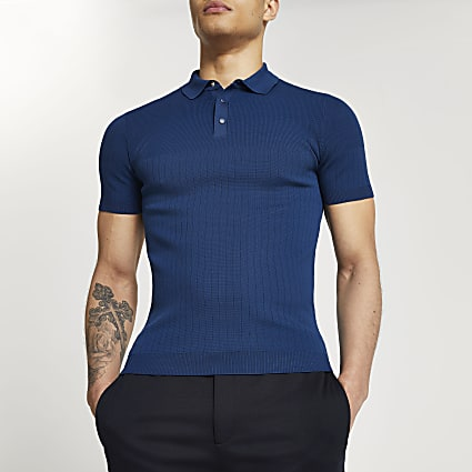 Blue ribbed muscle fit polo shirt
