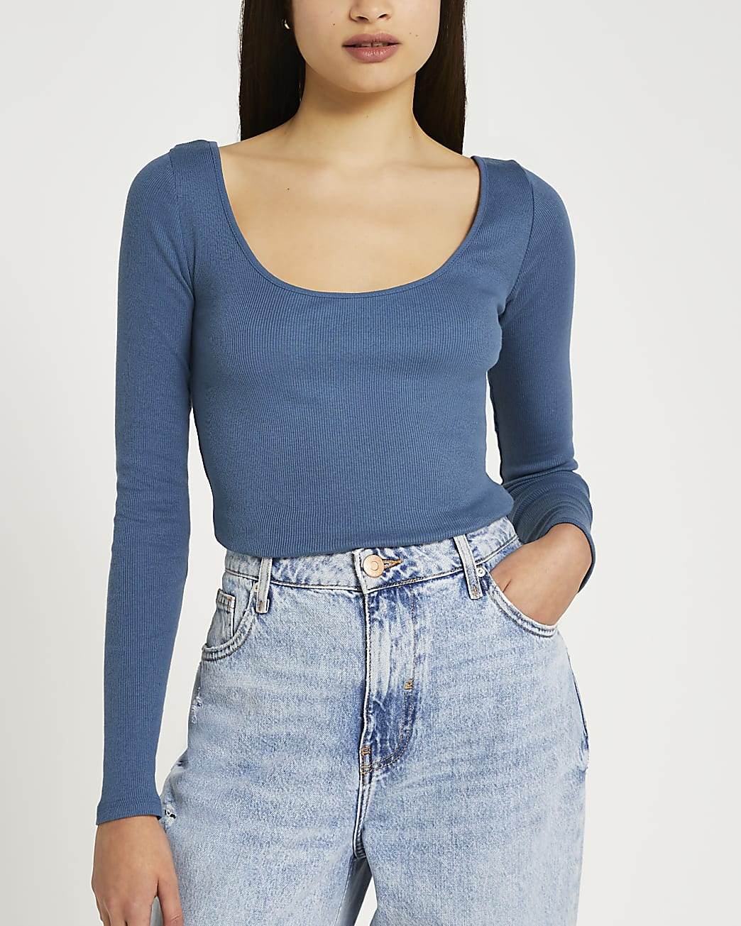 Blue ribbed scoop neck top