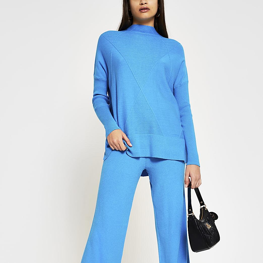 Blue ribbed stitch high neck jumper