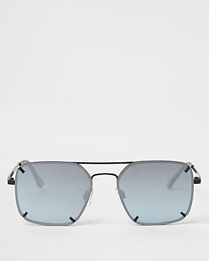 Blue rimless aviator sunglasses