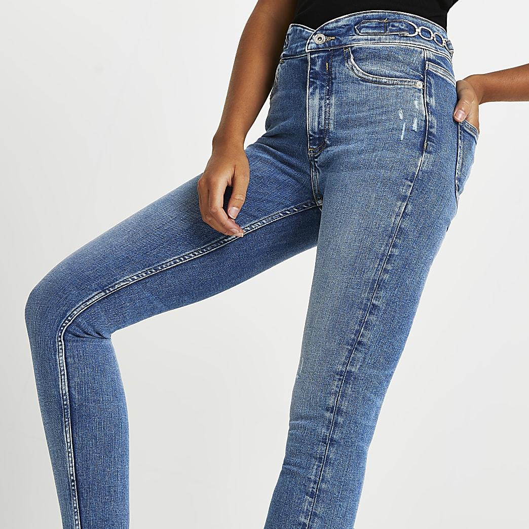 Blue rip high rise super skinny jeans