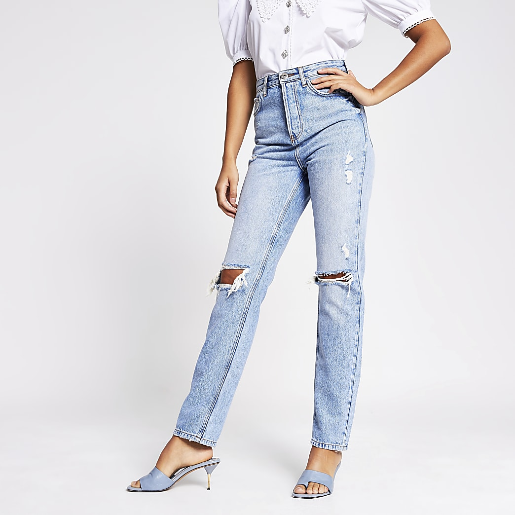 Blue ripped 90s high rise jeans