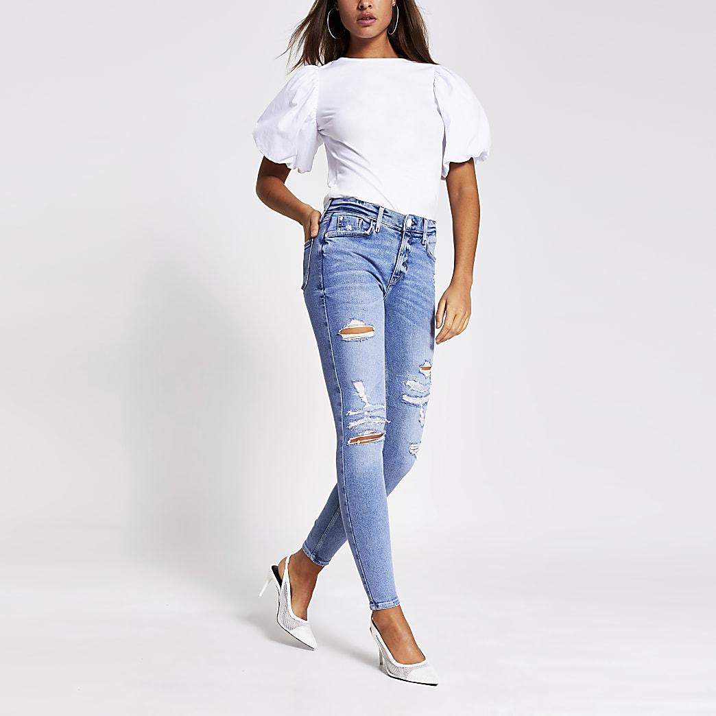 """Blaue Skinny Jeans """"Amelie"""" mit halbhohem Bund im Used-Look"""