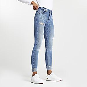 Blauwe rippedAmelie skinny jeans met halfhoge taille