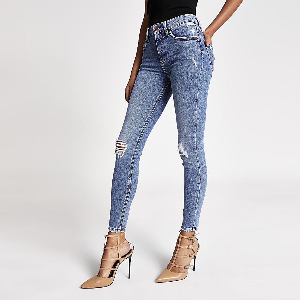 Amelie - Blaue Super Skinny Jeans im Used-Look