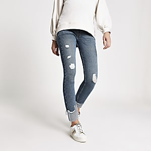 Blue ripped Amelie underbump maternity jeans