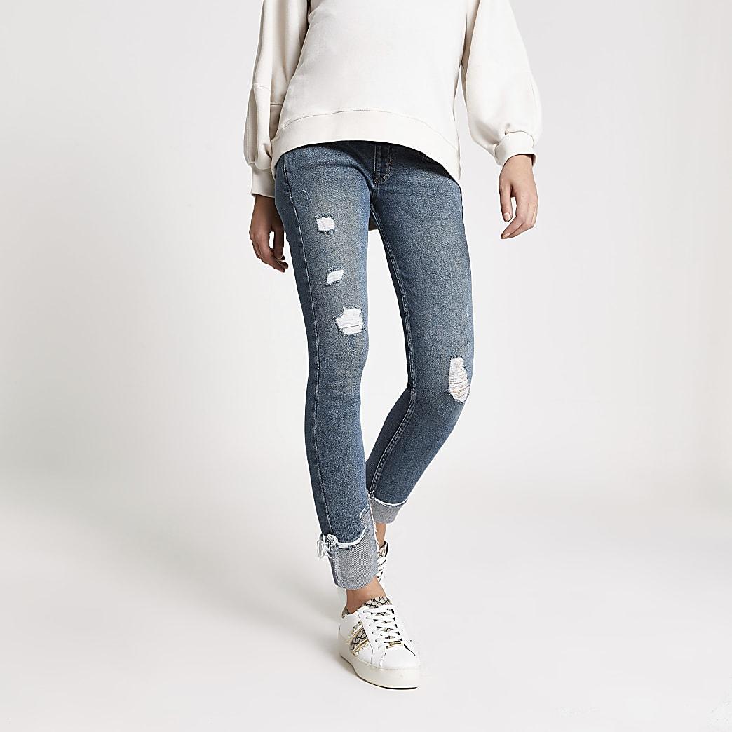 """Blaue, gerippte Jeans """"Amelie"""" mit Bauchausschnitt für werdende Mütter"""