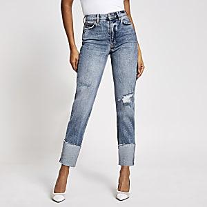 Blaue Straight Blair Jeans mit hohem Bund im Used-Look