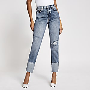 Blair - Blauwe ripped high rise straight jeans