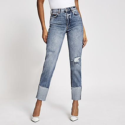 Blue ripped Blair high rise straight jeans