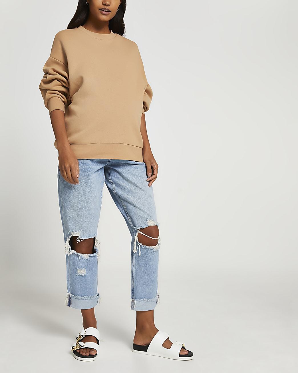 Blue ripped boyfriend maternity jeans