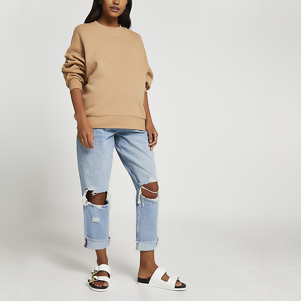 Blue ripped boyfriend maternity jeans