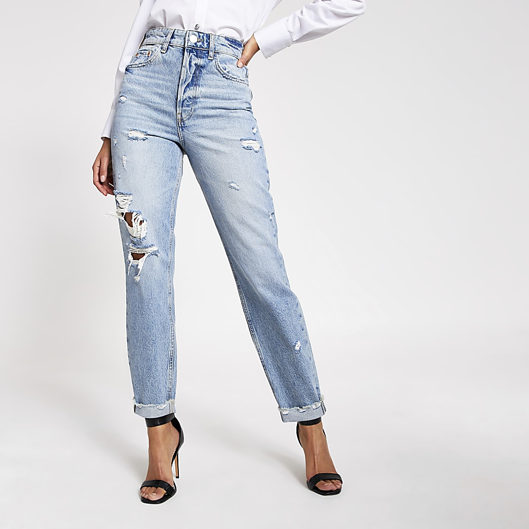 Carrie - Mom - Blauwe ripped high rise jeans