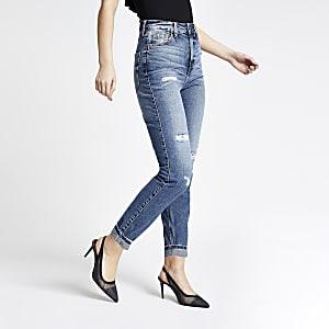 Blaue Carrie Mom-Jeans mit hohem Bund im Used-Look