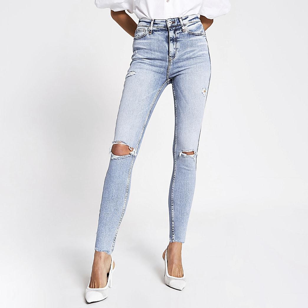 Hailey - Jean skinny bleu déchiré taille haute