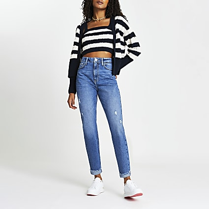 Blue ripped high rise Mom shape jeans