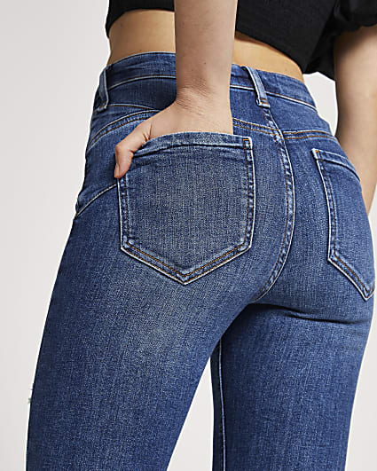 Blue ripped high rise skinny fit denim jeans