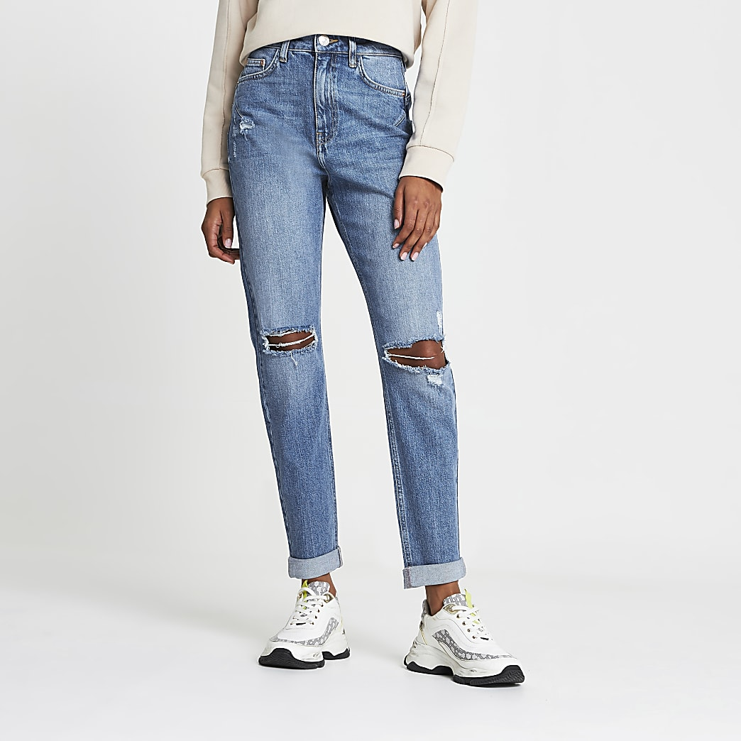 Blue ripped high waisted mom jean