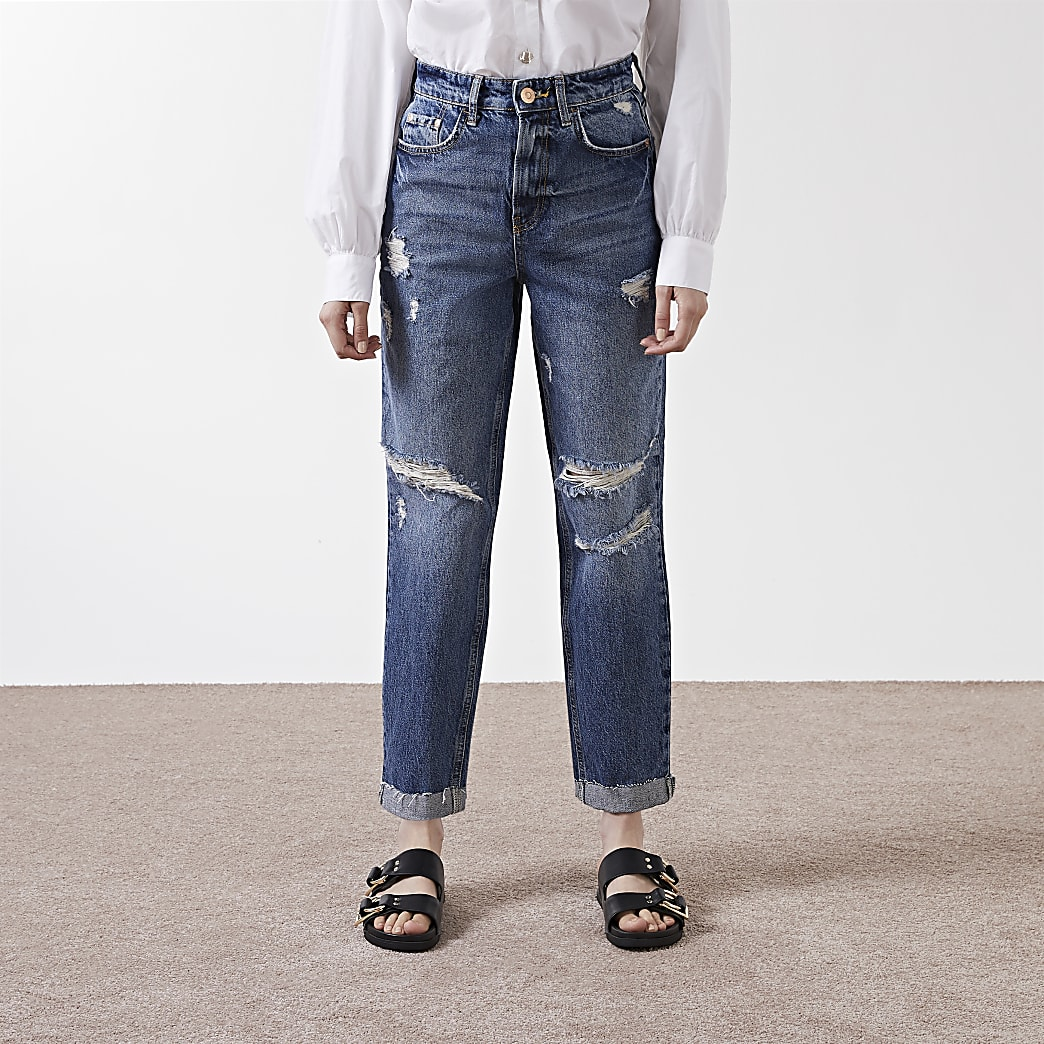 Blue ripped high waisted mom jeans