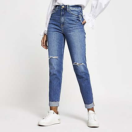 Blue ripped high waisted mom stretch jean
