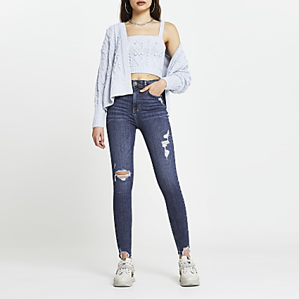 Blue ripped high waisted skinny jean