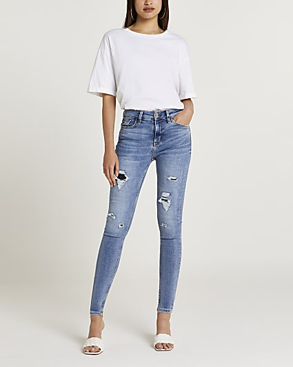 Blue ripped high waisted skinny jeans