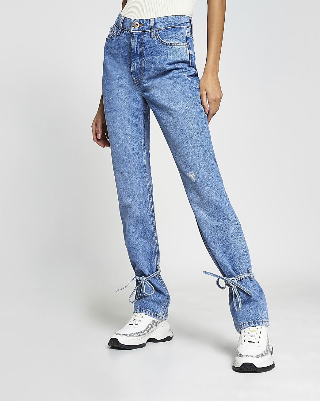 Blue ripped high waisted slim fit jean