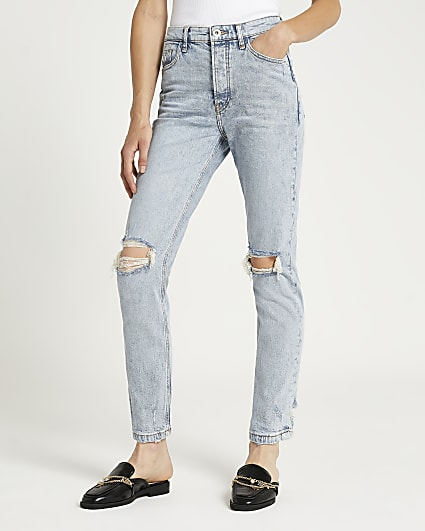 Blue ripped high waisted slim fit jeans