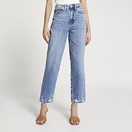 Blue ripped high waisted straight jean